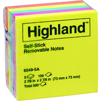 HIGHLAND COLOURED NOTES 100 SHEETS PER PAD 73 X 73MM ASSORTED BRIGHT COLOURS PACK 5