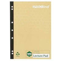 MARBIG 100% RECYCLED LECTURE PAD 7 HOLE PUNCHED 140 PAGE A4