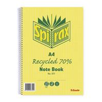 SPIRAX 811 NOTEBOOK 7MM RULED 70% RECYCLED CARDBOARD COVER SPIRAL BOUND A4 240 PAGE