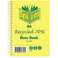 SPIRAX 813 NOTEBOOK 7MM RULED 70% RECYCLED CARDBOARD COVER SPIRAL BOUND A6 100 PAGE